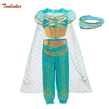 New Halloween Kids Girls Princess Jasmine Costumes For Children Party Belly Dance Dresses Indian Costume Christmas Party Clothes indian princess belly dance tulle feather party mask
