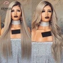 Eewigs peruca longa reta sintética, ombré, loira, renda, cabelo sintético, com cabelo novo, resistente ao calor, ondulado mulheres negras