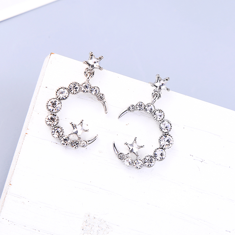 Boho Statement Drop Earrings Crystal Moon Shiny Allergy Free Earrings For Women Fashion Gift Jewelry