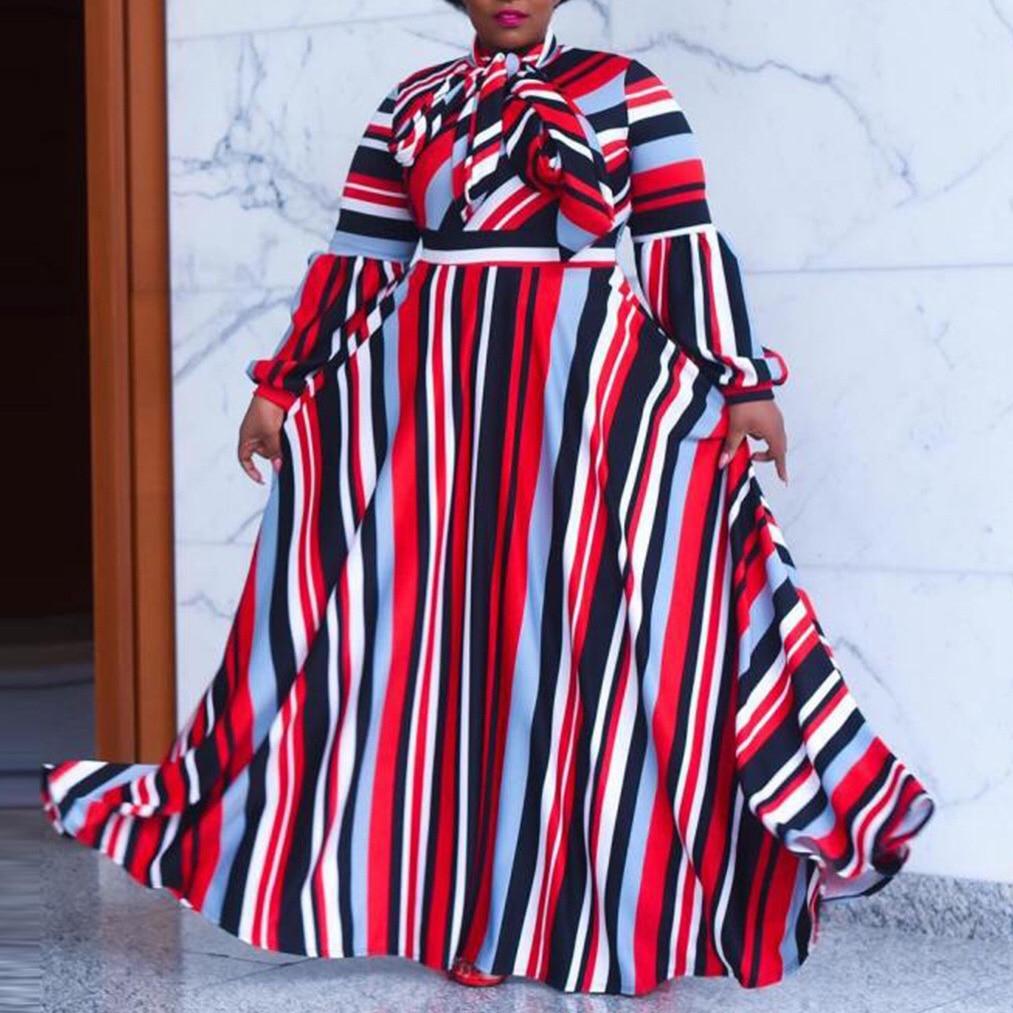 African Plus Size Dress 4XL 5XL Women Red Striped Long Sleeve Floor Length Loose High Waist Autumn Elegant Evening Vestidos Hot