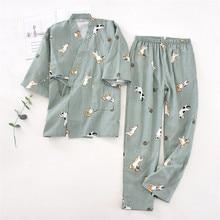 Ensemble de vêtements 2 pièces pour amoureux japonais, Kimono imprimé chat, Yukata, pyjama, peignoir, chemise de nuit, japon