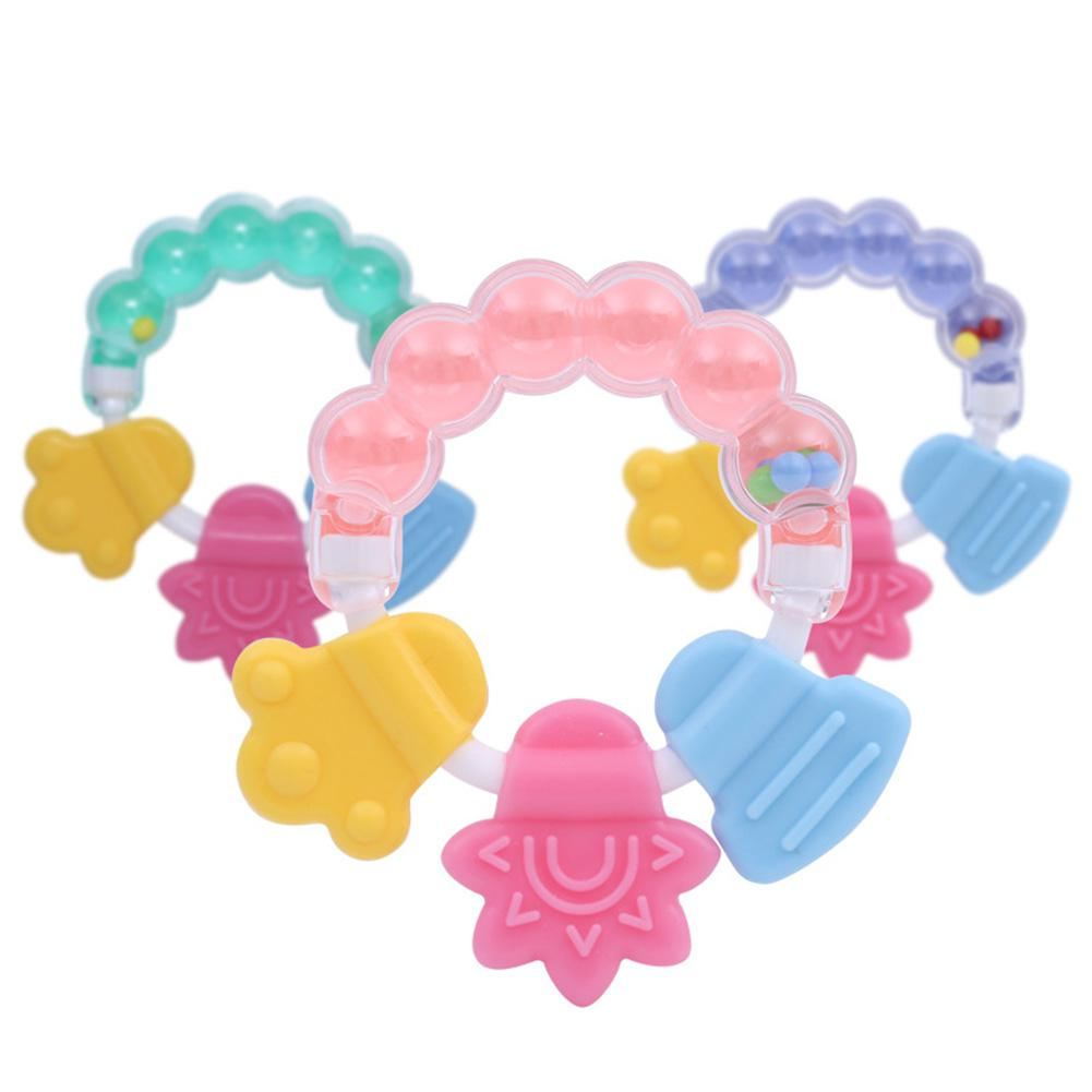 Baby Toy Cute Rattle Silicone Teeth Gum Bell Baby Teether Molar Sticks Rattle Bell Teether Blue