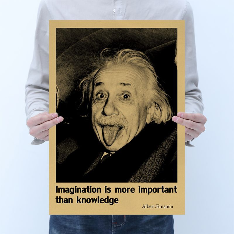 Albert Einstein Poster Retro Paper Imagination Is More Important Than Knowledge