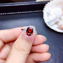 Fashion Elegant Lovely round circle Natural red garnet ring S925 silver natural gemstone ring girl women party gift jewelry(China)