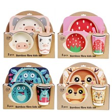 Bamboo Tableware Feeding-Bowl-Set Imebaby5piece-Set Gift Children Cute Cartoon Natural