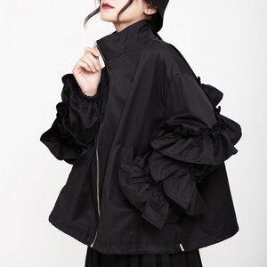 Image 3 - [EAM] หลวมFitสีดำRuffles Stitchขนาดใหญ่เสื้อใหม่แขนยาวผู้หญิงเสื้อแฟชั่นฤดูใบไม้ผลิฤดูใบไม้ร่วง2020 1B894