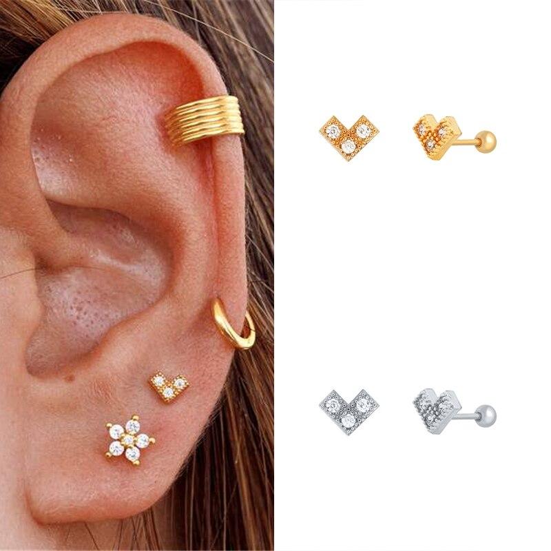 1Pair 925 Sterling Silver Stud Earrings for Women Zircon V-shaped inverted triangle Cartilage/Piercing Earrings Minimalist