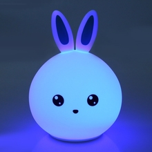 Silicone LED Night Light  USB Led Moon Lamp 7 Colors Dimmable Lovely Rabbit For Children Baby Kids Home Lighting