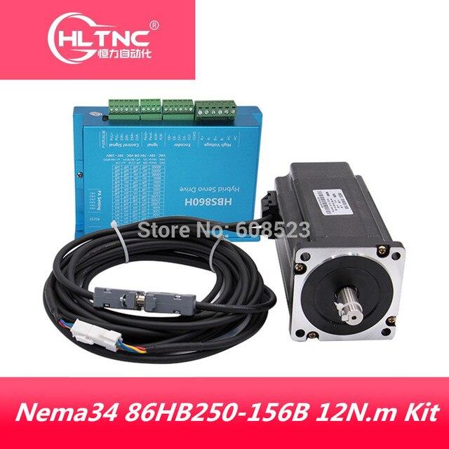 NEMA 34 servo 86HB250 156B 12N. M + HBS860H Kín động cơ Bước Nema 34 86 Hybird vòng kín 2 pha cho Máy CNC