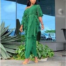2019 Vintage Women V Neck Ruffles Long Dress Loose Lace Up Pleated Midi Dresses Vestidos Summer Autumn Female Boho Beach