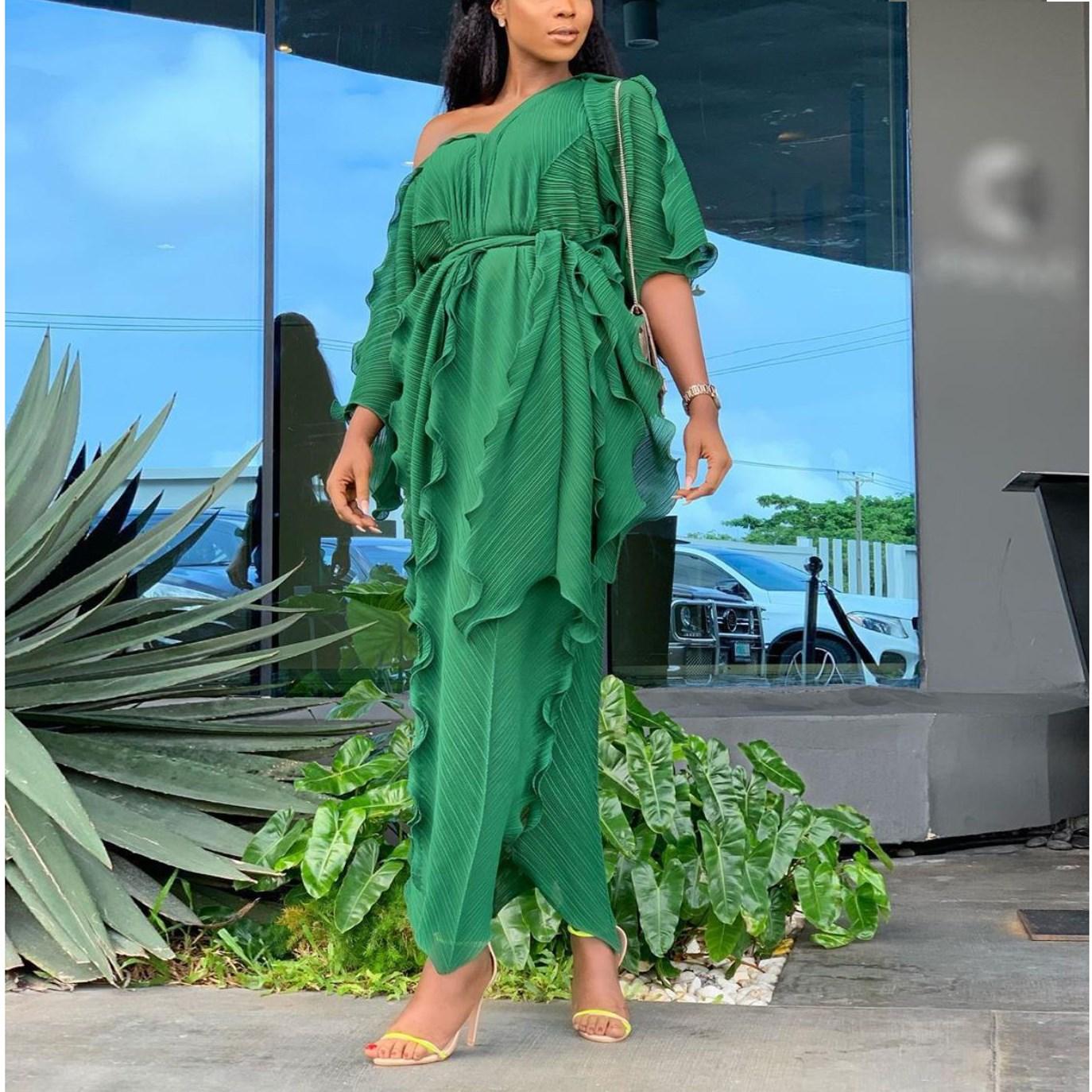 2019 Vintage femmes col en V volants longue robe lâche à lacets plissée robes d'été automne femme Boho robes de plage