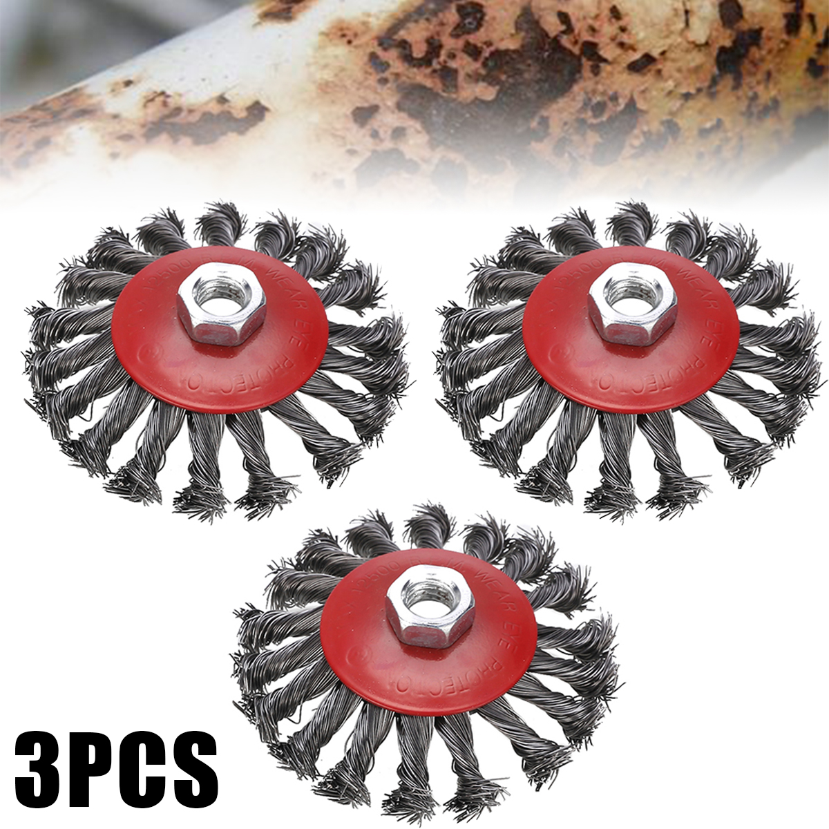 3pcs Mayitr Rotary Strong Metals Twist Knot Wire Wheel Cup Brush Set Kit 115mm M14 Angle Grinder Abrasive Tools