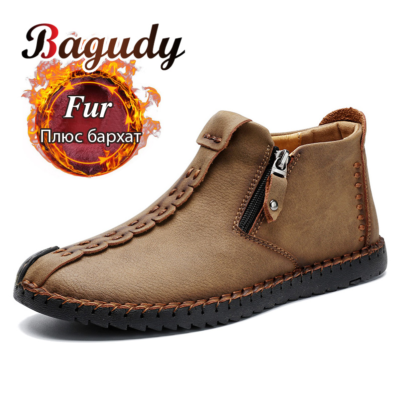 Winter Men Ankle Boots Comfortable Thick Plush Warm Men Snow Boots Outdoor Split Leather Autumn Fashion Men Warm Boots Shoes 48