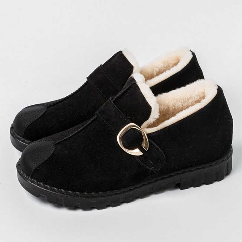MCCKLE Frauen Winter Kurze Plüsch Schnee Stiefel Mokassins Damen Metall Slip Auf Warme Flache Kurze Stiefel Weibliche Mode Komfort Schuhe