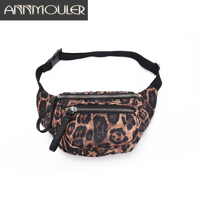 Annmouler Large Women Waist Bag Polyester Fanny Pack Leopard Printed Chest Bag For Girls High Quality Phone Pouch Belt Bag