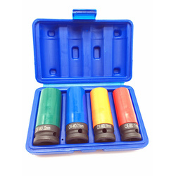 1/2-Inch Drive Impact Deep Socket Set with Color Plastic Protective Sleeves,CR-MO Material Metric 4-Piece