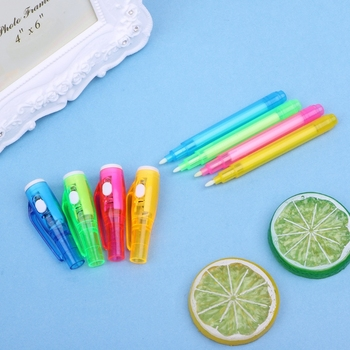 Brand New and High Quality Magic Invisible Ink Pen Writing Secret Message Gadget With UV Light Stationery image