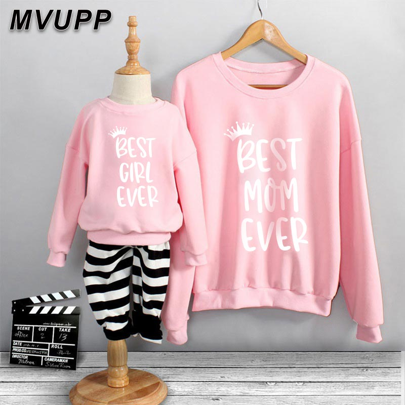 Family Macthing Outfits Natural Cotton Sweatshirts Long Sleeves Mama Duaghter Keep Warm Sweaters Little Baby Girl Active Clothes