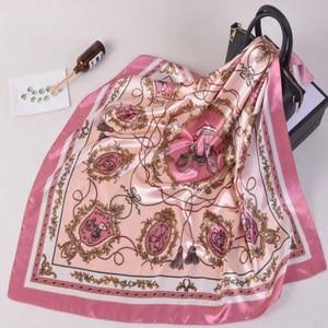 Image 4 - Silk Schal Frauen Druck haar hals Platz Schals Büro Damen Schal Halstuch 90*90cm Moslemisches Hijab Taschentuch schalldämpfer foulard