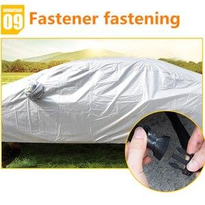 Image 4 - JIUWAN 유니버설 SUV 자동차 커버 태양 먼지 UV 보호 야외 자동 전체 커버 SUV 세단에 대 한 우산 실버 반사 스트라이프