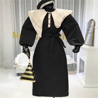 Vintage Dress Women Turn down Collar Empire Mid Calf A Line Asymmetry Collar Spring Cotton Blend Long Sleeve Dresses