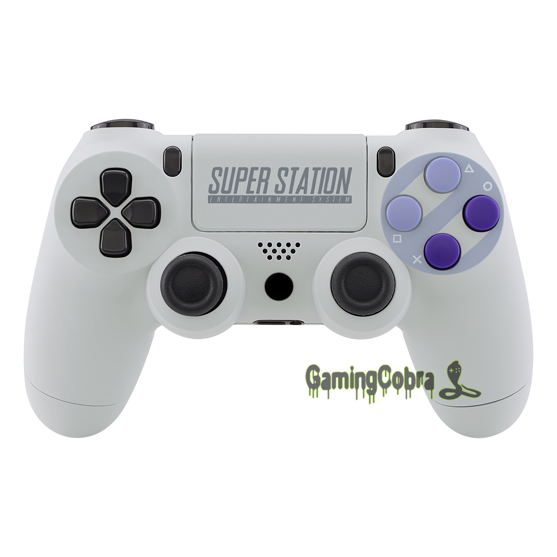 Classics SNES Style Soft Touch Replacement Housing Shell With Face Buttons For PlayStaton 4 PS4 Slim PS4 Pro CUH-ZCT2 Controller