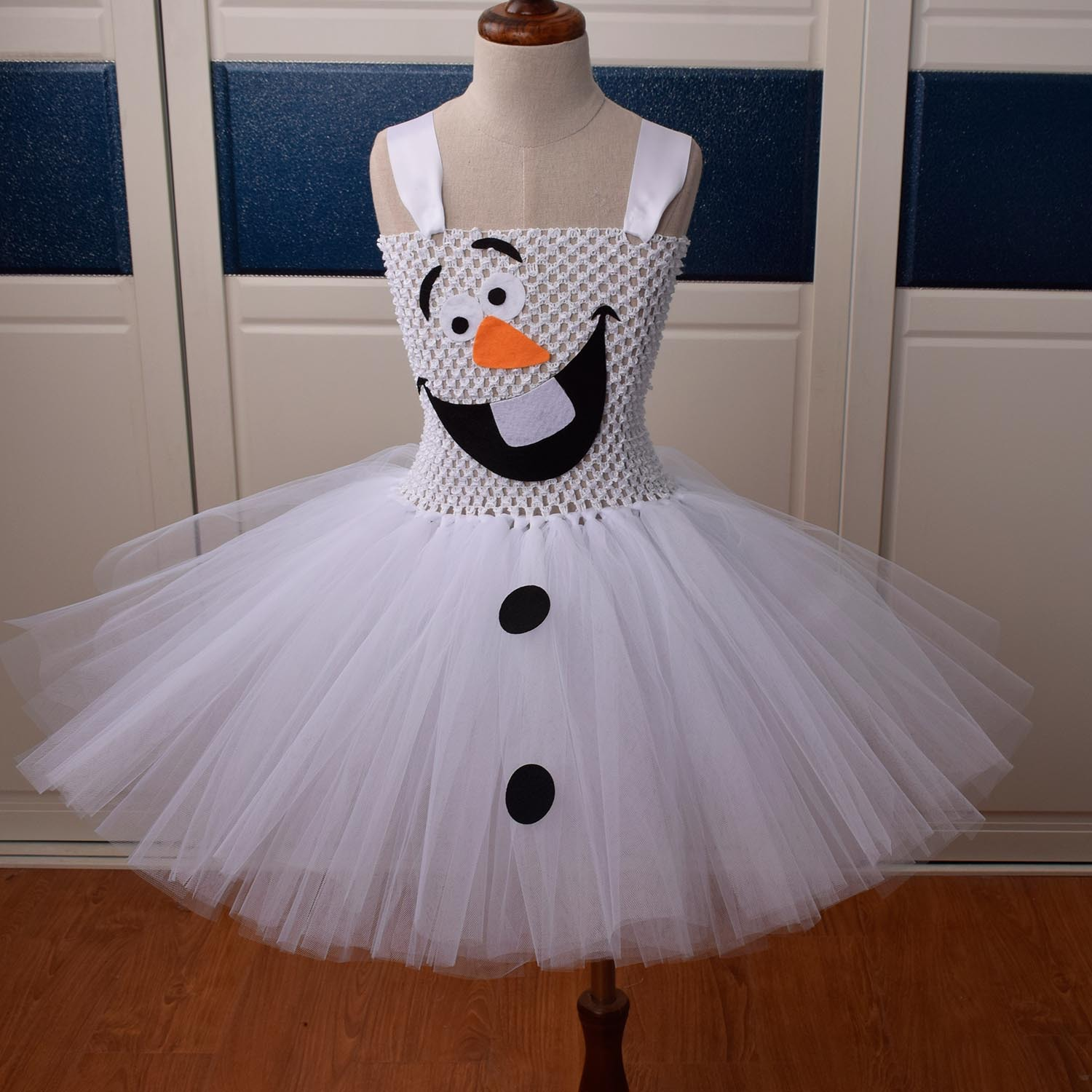 Kids Olaf Snowman Costume X Mas Girls Cute Tutu Dress Cosplay Christmas Party Outfit Gift For Infant Child Toddler Newborn Baby
