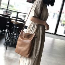 Bag female new large-capacity first-layer cowhide bucket bag soft leather simple shoulder messenger bag female цена 2017