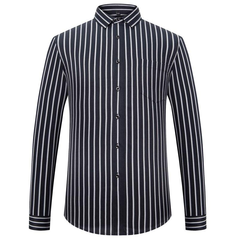 Moda męska z długim rękawem jedwabiste tkaniny koszule w paski pojedynczy naszyta kieszeń praca codzienne standardowe dopasowanie łatwy w pielęgnacji klasyczna sukienka koszula