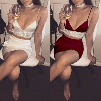 Sexy 2Pcs Solid Color Deep V-Neck Bling Backless Bodycon Slim Women's Sets Crop Top And Skirt Set Split Clubwear Party Cooktail marled knit crop top with split skirt