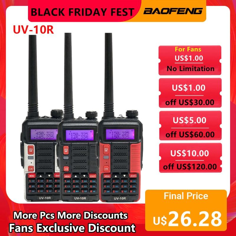 Baofeng UV10R Walkie-Talkie CB Ham kit transceiver two-way radio high-power 10W 5800mAh portable UHF VHF Dual-Band USB-charging