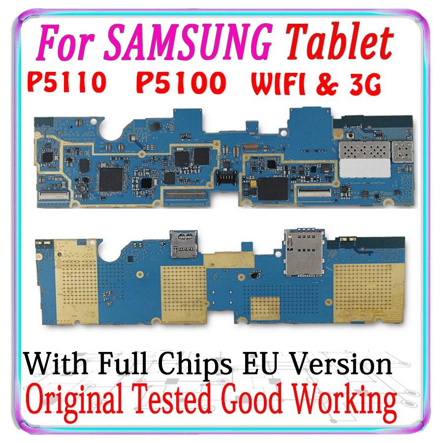 Carte mère 100% originale débloquée pour Samsung Galaxy Tab 2 10.1 P5100 3G P5110, avec WIFI, Version européenne, circuit imprimé avec puces