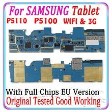 100% original desbloqueado para samsung galaxy tab 2 10.1 p5100 3g p5110 wifi placa lógica da versão da ue com chips placa