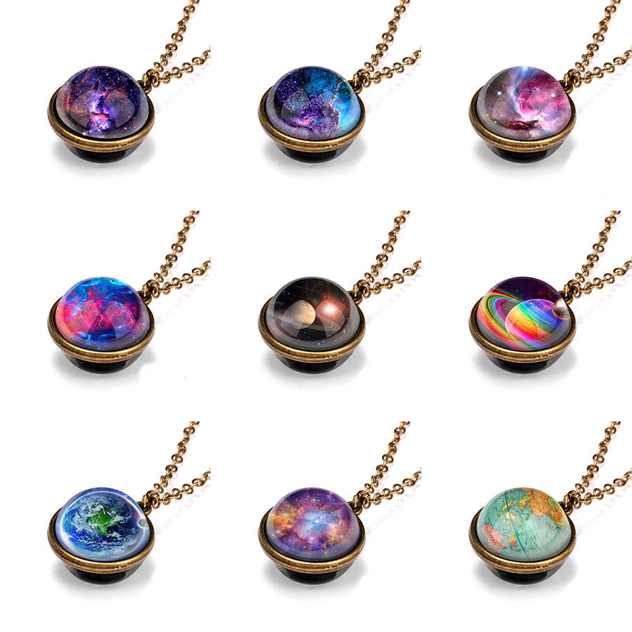Rinhoo Nebula Galaxy Double Sided Pendant <font><b>Necklace</b></font> Universe Planet Jewelry Glass Art Picture <font><b>Glow</b></font> <font><b>In</b></font> <font><b>Dark</b></font> Jewelry Gifts <font><b>Necklace</b></font> image