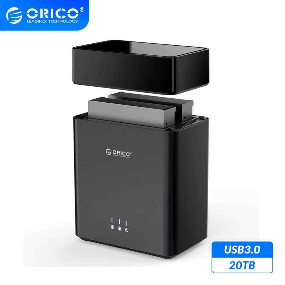 ORICO DS סדרת 2 מפרץ מגנטי-סוג 3.5 אינץ USB3.0 כונן קשיח מארז 20TB מקסימום תמיכת UASP 12V4A כוח 5Gbps HDD מארז