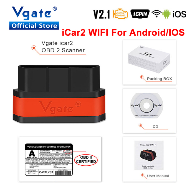 Vgate iCar2 ELM 327 v2.1 obd2 ماسحة wifi محول سيارة التشخيص ل IOS/الروبوت obd odb2 تشخيص السيارات أداة PK elm327 v1.5