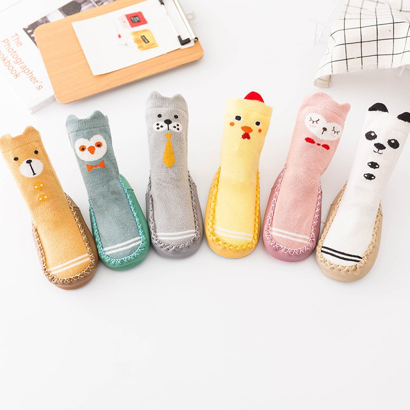 Cute Baby Sock Shoes Chicken Bear Cartoon Cotton Socks Shoes Warm Anti Slip Boots For 0-24M