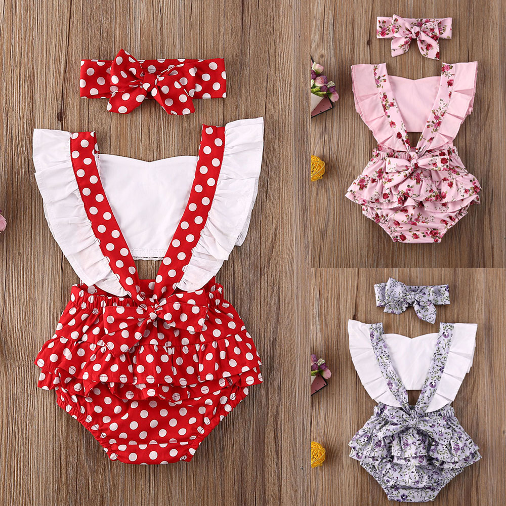 Pudcoco Newborn Baby Girl Clothes Polka Dot Print Flower Fly Sleeve Romper Jumpsuit Headband 2Pcs Outfits Sunsuit Summer Set