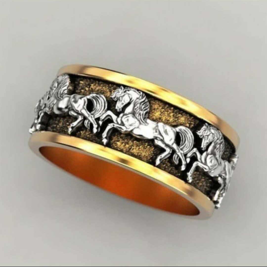 แฟชั่นPunk Cool Horseผู้ชายแหวนVINTAGE Gold SilverสีVikingม้าTotem BIKERแหวนผู้ชายเครื่องประดับBoho