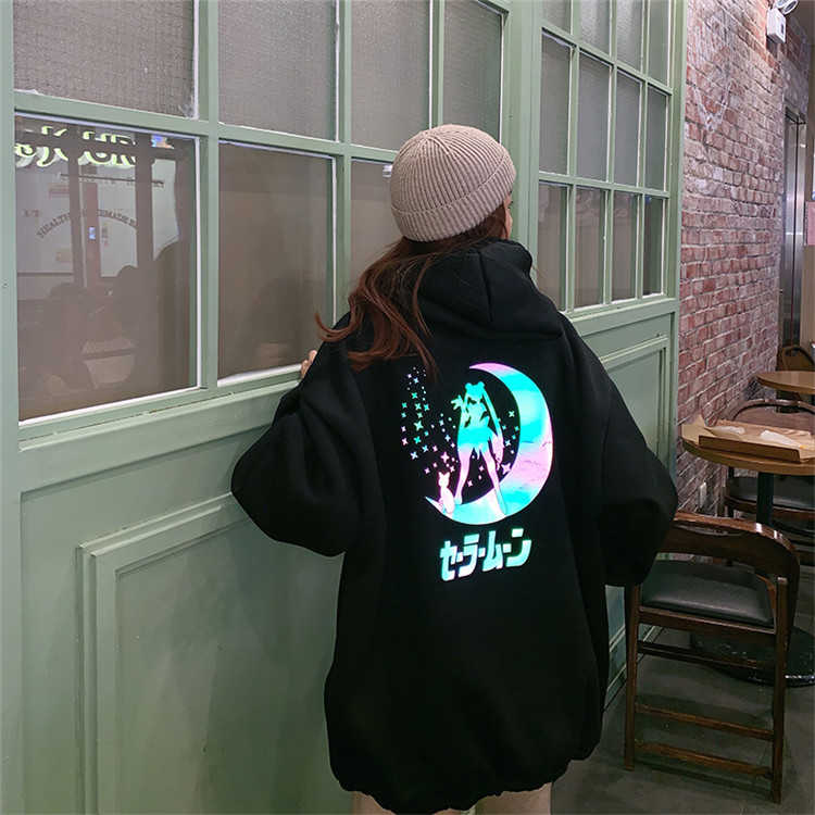 Velvet Winter Reflective Material Sailor Moon Cartoon Hoodie Women Loose Casual Long Sleeve Pullover Tops Streetwear Sweatshirt
