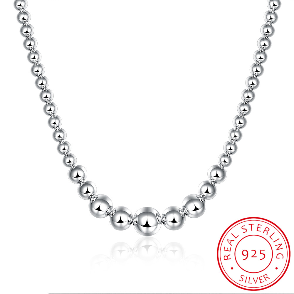 925 Silver Exquisite Noble Luxury Gorgeous Charm Fashion Vary Chain Women Lady Beads Necklace 18 Inches Silver Jewelry