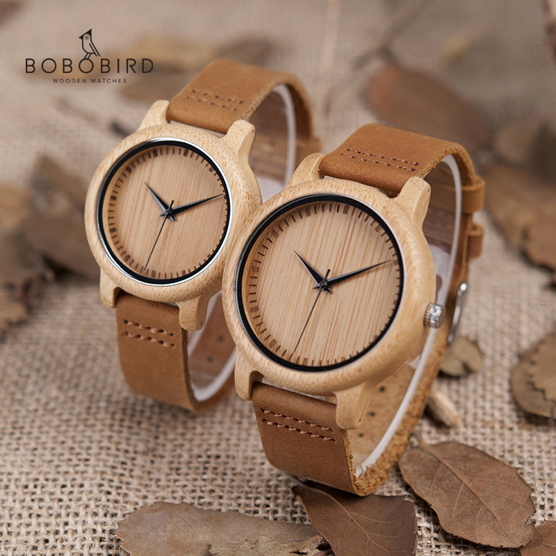 Watch Women Couple Gifts Wood Bamboo Bobo Bird Quartz Relogio Items Masculino