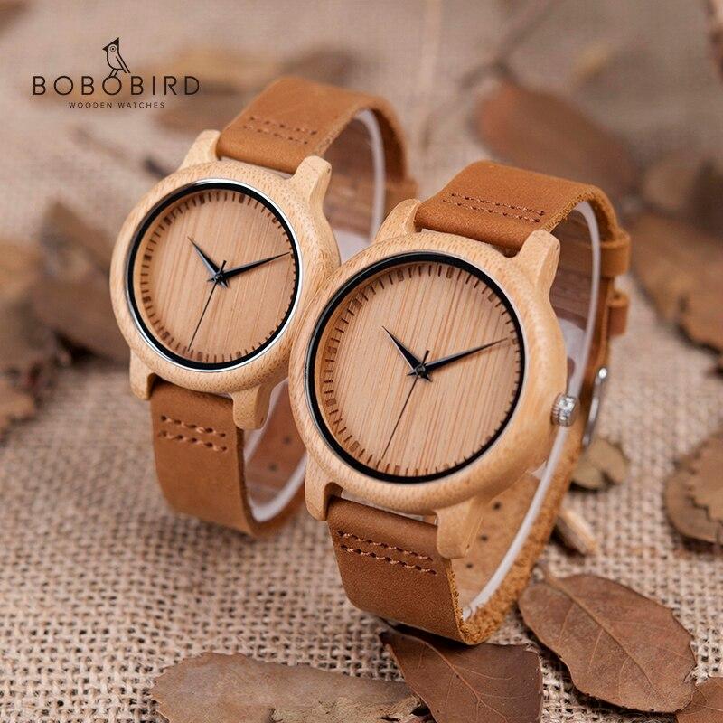 BOBO PÁSSARO Mulheres Relógio relogio masculino Relógios de Quartzo Casal Relógios De Pulso Dos Homens De Madeira De Bambu Presentes Ideais Itens de Transporte Da Gota