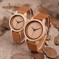 BOBO VOGEL Horloge Vrouwen relogio masculino Quartz Horloges Mannen Bamboe Hout Paar Horloges Ideaal Geschenken Items Drop Shipping