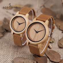 Bobo bird relógio de pulso, mulheres relógio masculino quartz homens bambu madeira casal relógios de pulso presentes itens drop shipping