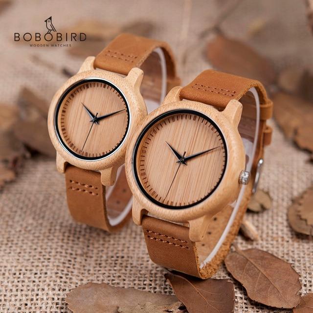 보보 버드 시계 여성 relogio masculino 쿼츠 시계 남성 대나무 우드 커플 손목 시계 선물 용품 드롭 배송
