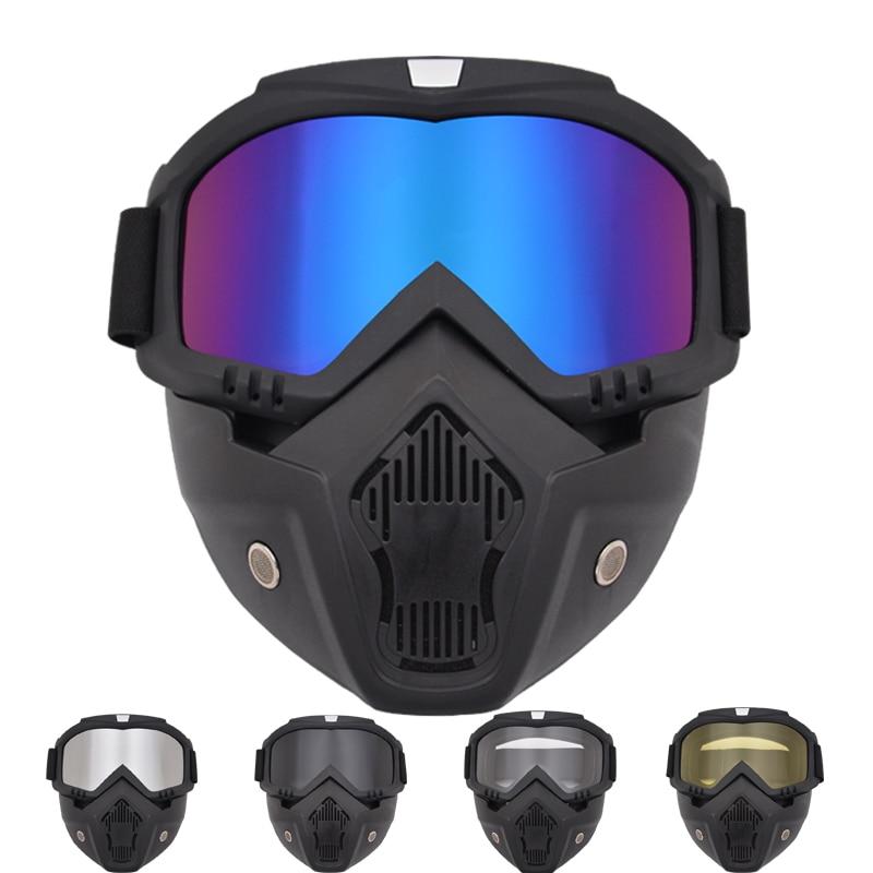 2 In 1 Moto Glasses Ski Goggles Men Women Helmet Mask Anti-UV Dust Proof Detachable Face Full Mask Lens Glasses Motocycling