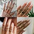 KSRA 2020 новые богемные женские модные кольца Ins Knuckle BOHO полые геометрические перстни с кристаллами золотого цвета комплект колец ювелирные из...