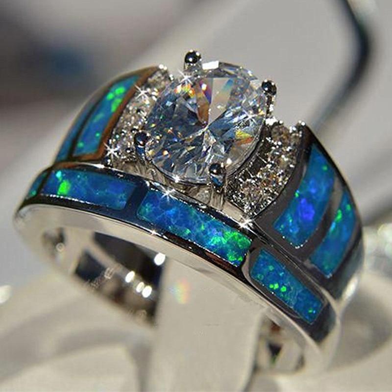 Huitan-anillo ovalado de circonia cúbica para mujer, sortija, zirconia, circonita, zirconita, zirconita, color azul, tamaño de 5 a 10