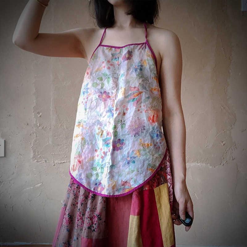 Johnature 2020 yeni yaz rami sapanlar Vintage baskı çiçek o-boyun Retro camiş rahat üstleri kadın kıyafetleri